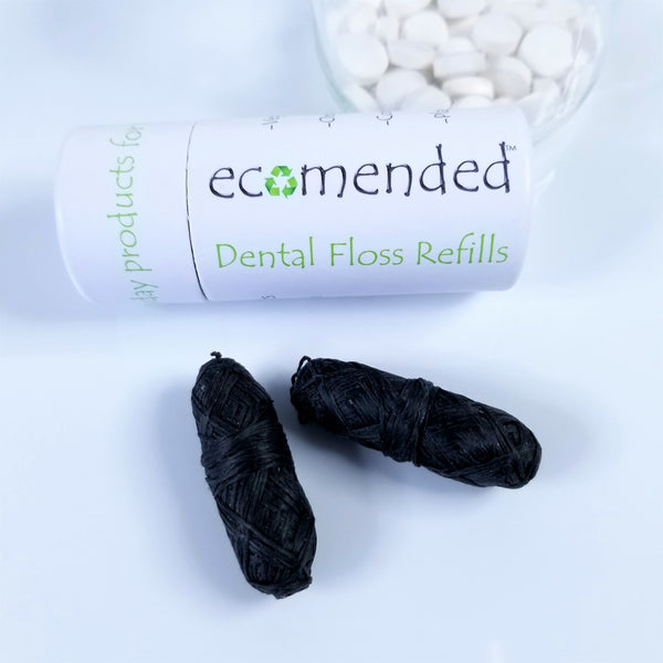 plastic free zero waste dental floss refills activated charcoal