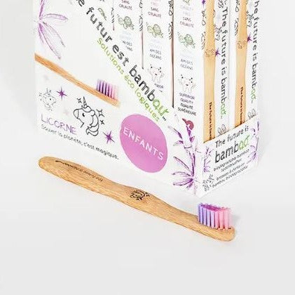 Unicorn bamboo toothbrush for kids