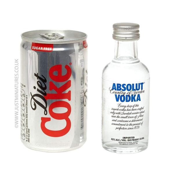 Alkohol Miniaturen:Absolut Blue Vodka & Diet Coke (Miniature & Mini Can Set)