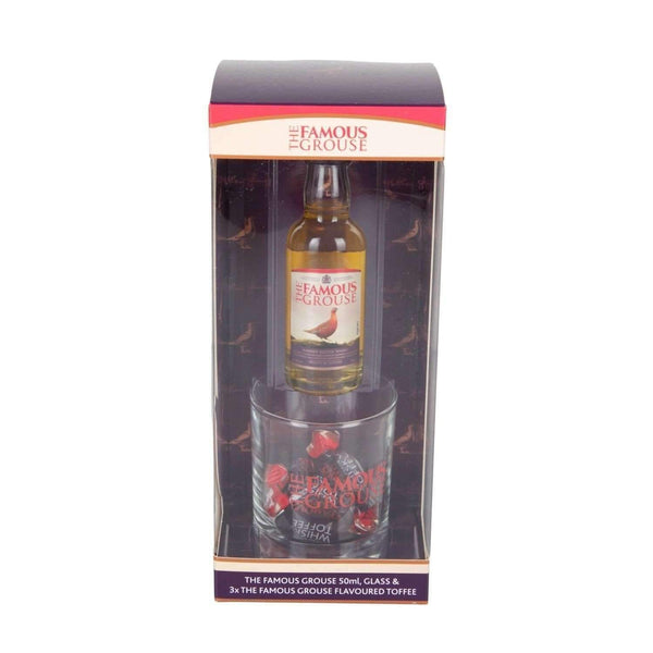 Alkohol Miniaturen:Famous Grouse Whisky Miniature, Glass & Toffees Gift Pack