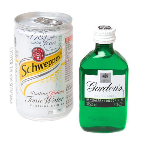 Alkohol Miniaturen:Gordons Gin & Slimline Tonic (Miniature & Mini Can Set)