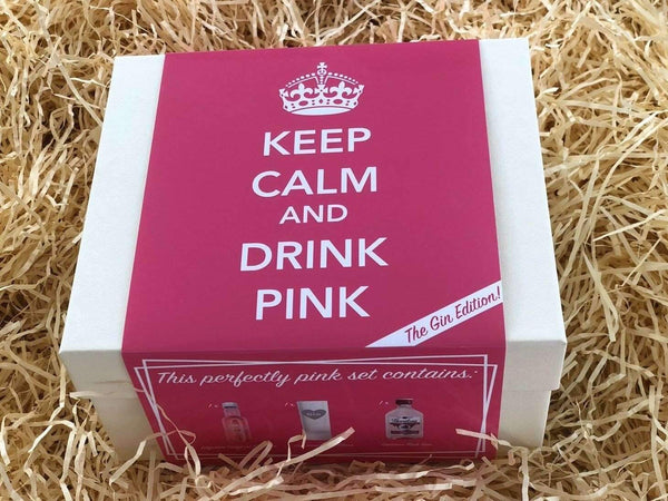 Alkohol Miniaturen:Think Pink Gift Set with 2 x Pink Gin Miniatures & Frosted Shot Glass