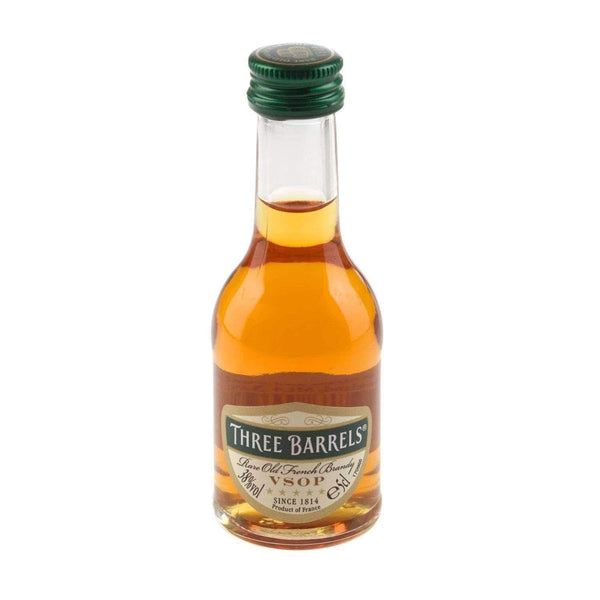 Alkohol Miniaturen:Three Barrels VSOP French Brandy Miniature - 50ml,Miniature Drinks