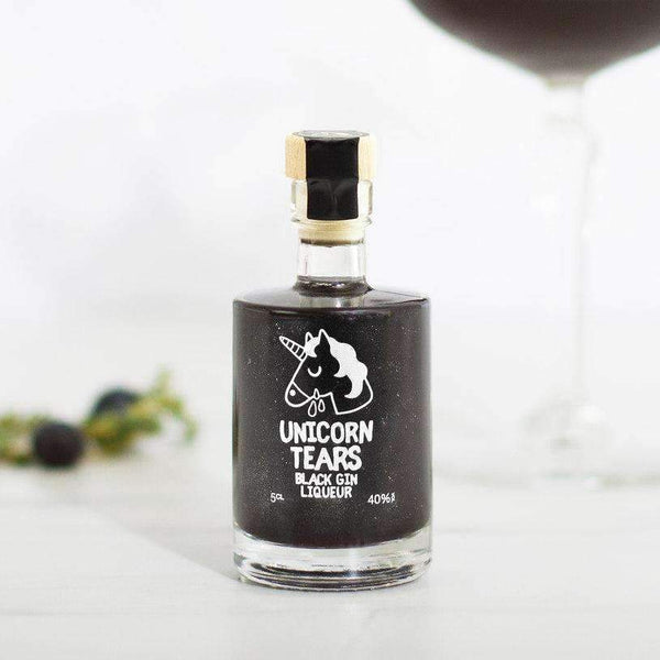 Alkohol Miniaturen:Unicorn Tears Black Gin Liqueur Miniature - 50ml,Miniature Drinks