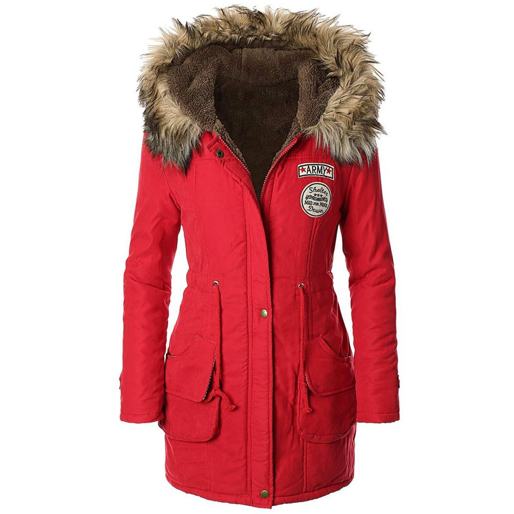Parka Jacket With Red Fur