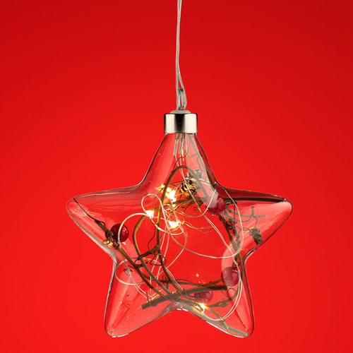 Decorative Hanging LED - Christmas Winter Berries Star Small