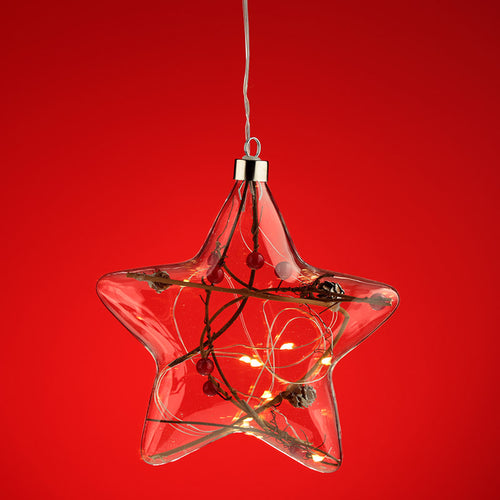 Hanging LED - Christmas Winter Berries Star Large