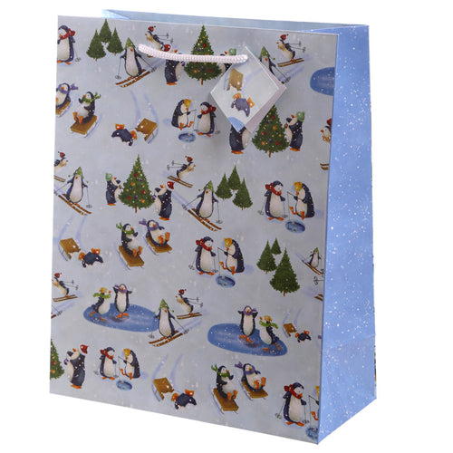 Christmas Penguin Design Large Glossy Gift Bag