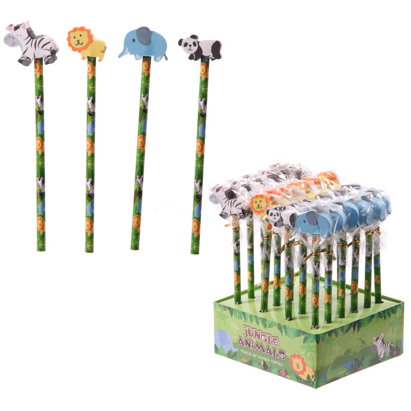 Pencils with Jungle Animal Themed Rubber Topper