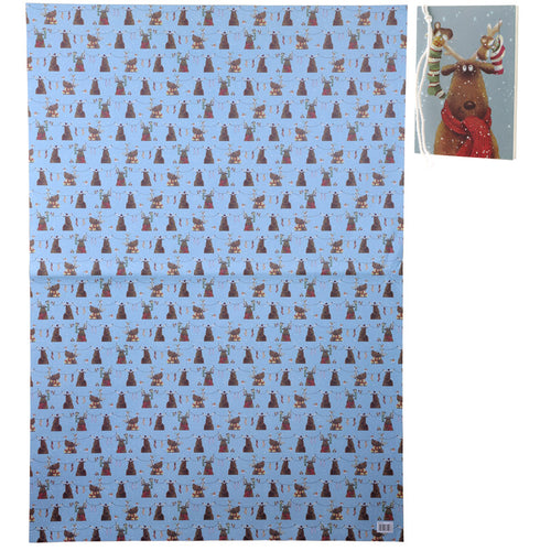 Christmas Reindeer Wrapping Paper and Gift Tags Set