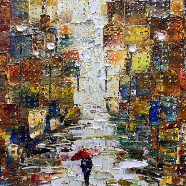 handmade painting - girl in the city