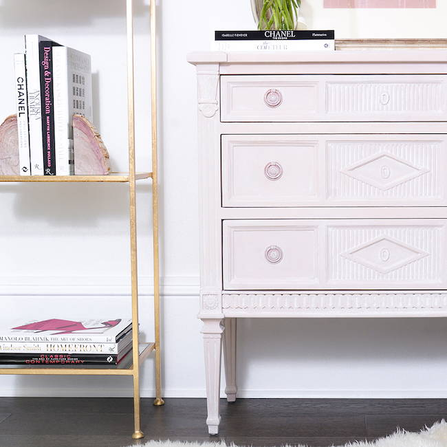 Dresser in Rose Quartz Washed in Gesso White | Get the look with Jolie Products