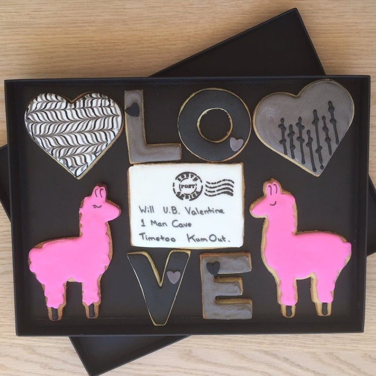 Valentine Gift - Personalised Llama Cookies to Win the Heart