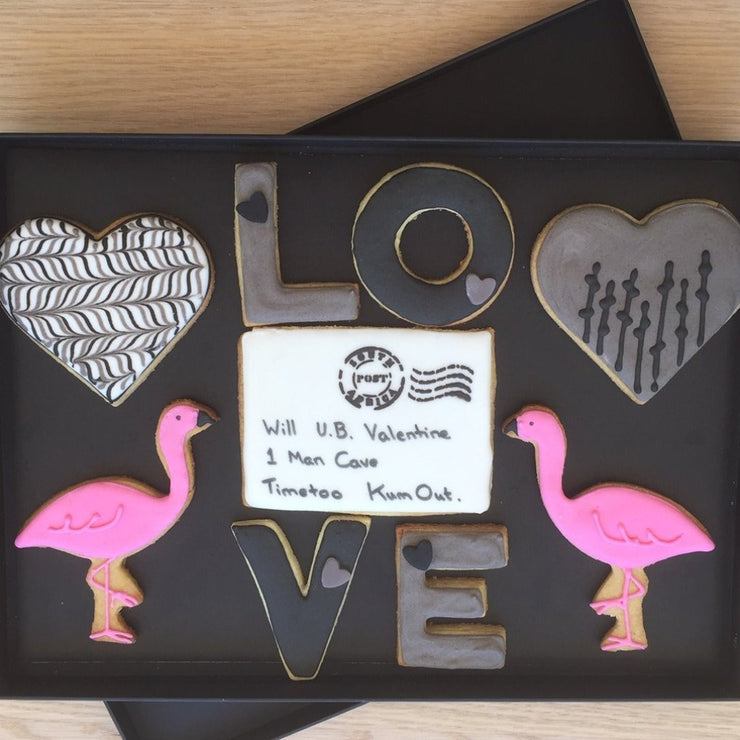 Valentine Cookie Gift Box Flamingo Love