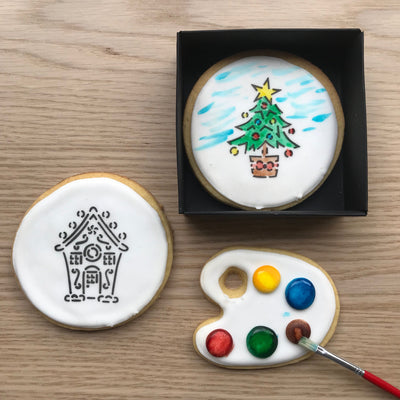 Paint-Your-Own Christmas Tree and Gingerbread House Cookies
