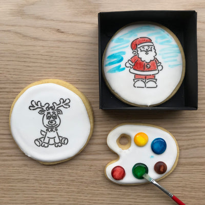 Paint-Your-Own Santa and Rudolph Cookies