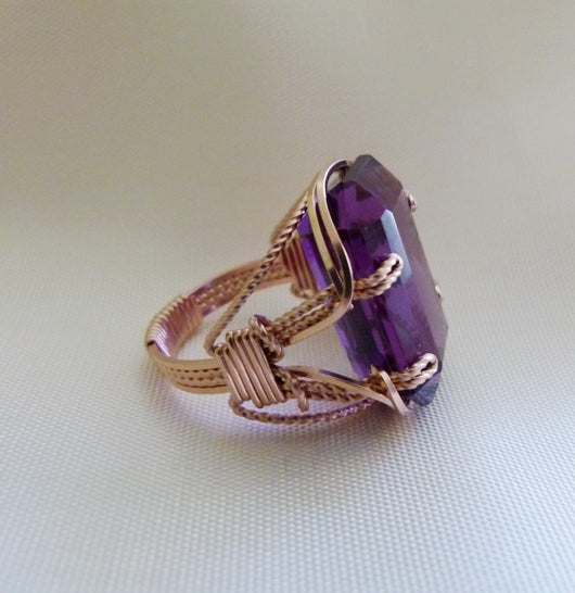 Wire Inspirations 21 Carat Amethyst Ring in Rose Gold Wire