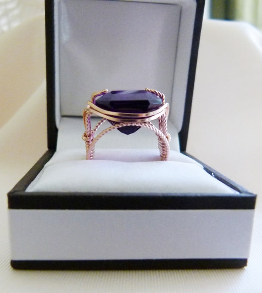 Gold Wire Wrapped Rings   Wire Inspirations 21 Carat Amethyst Ring In Rose Gold Wire