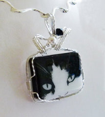 Black & White Cat's Eyes Pendant - Wirewrapped