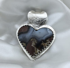 Stunning Black Queen Heart Agate Sterling Pendant