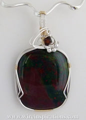 Bloodstone Pendant - Two Tone