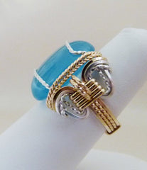 Blue Chalcedony Silver and Gold Ring - Wire Wrapped Ring