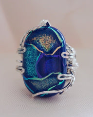 Blue Turquoise Dichroic Ribbon Ring  - Wire Wrapped Ring