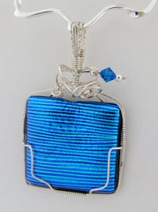 Cobalt Blue and Turquoise Stripes Dichroic  - Wire Wrapped Pendant