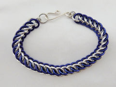 Blue and Silver Persian 3 in 1 Chainmaille Bracelet