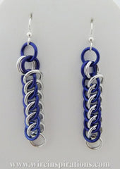 Blue and Silver Persian 3 in 1 Chainmaille Earrings