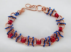 Copper, Red and Blue X-Byzantine Chainmaille Bracelet