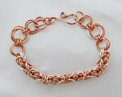 Copper and Argentium Silver Chainmaille Byzantine Bracelet