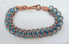 Turquoise Enamaled Copper and Pure Copper Chainmaille Bracelet