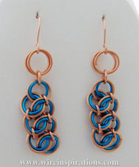 Turquoise and Copper Garter Weave Chainmaille Earrings