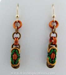 Fall Colors Byzantine Chainmaille Earrings