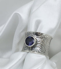 Sterling Silver Alexandrite Anticlastic Ring with Scroll Design