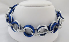 Navy Blue and Silver Grand Links Chainmaille Bracelet