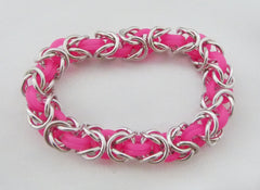 Neon Pink and Silver Aluminum Byzantine Chainmaille Stretch Bracelet