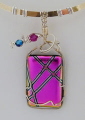 Pink and Black Criss Cross Dichroic  - Wire Wrapped Pendant