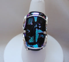 Black and Purple Dichroic Ring