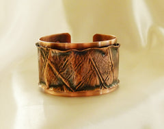 Copper Bracelet  - Form Fold Ruffled Edge