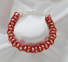 Orange and Silver Chainmaille Bracelet