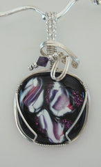 Black Purple and White Dichroic - Wire Wrapped