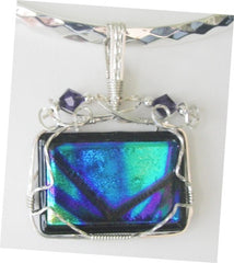 Purple and Green Dichroic Abstract  - Wire Wrapped Pendant