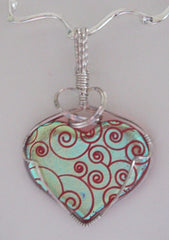 Red and Gold Swirled Heart Dichroic Pendant - Wire Wrapped Pendant