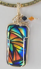 Stained Glass Dichroic  - Wire Wrapped Pendant