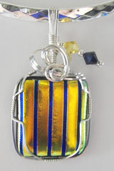 Yellow Dichroic with Navy Stripes  - Wire Wrapped Pendant