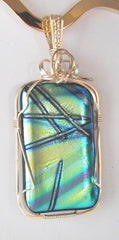 Green Criss Cross Dichroic - Wire Wrapped Pendant