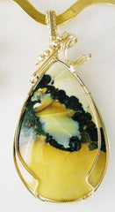 Yellow and Black Turquoise - Wire Wrapped