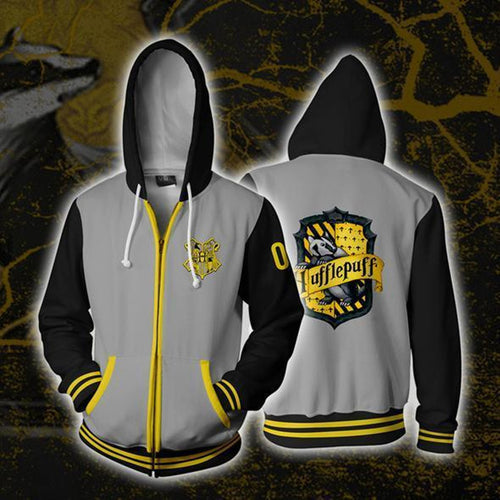 Harry Potter Hufflepuff Men Women Hoodie Sweatshirt Sweater Zipper Jacket Coat